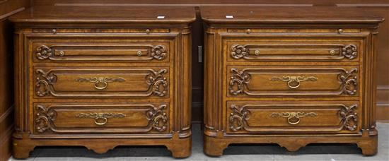 Pair Karges Baroque Style Fruitwood Bachelor's Chest of Drawers, Height: 31 in, Width: 39-3/4 in, Depth: 20 in