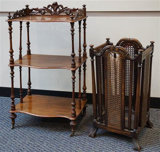 Victorian Walnut Three-Tier Side Table, H: 38; W: 21-1/2; D: 15 inches and Jacobean Style Oak and Cane Umbrella Stand, H: 27 inches