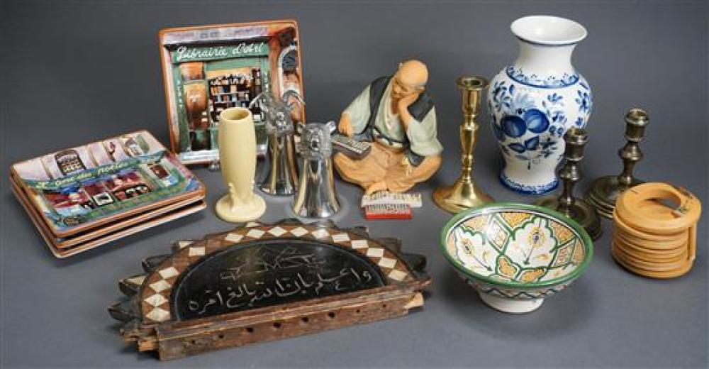 Russian Vase, Japanese Ceramic Figure, Three Assorted Candlesticks, Wood Coasters and Four Square Plates