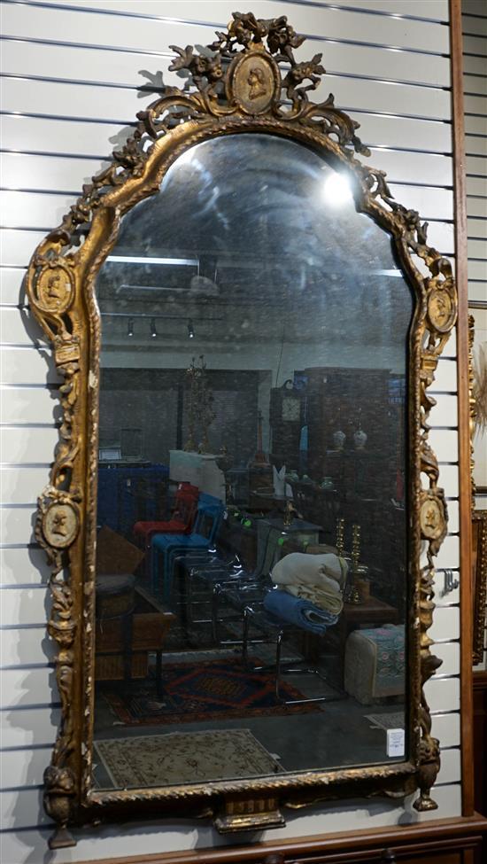 Rococo Gilt Mirror, 18th-19th Century, 62 x 36 in