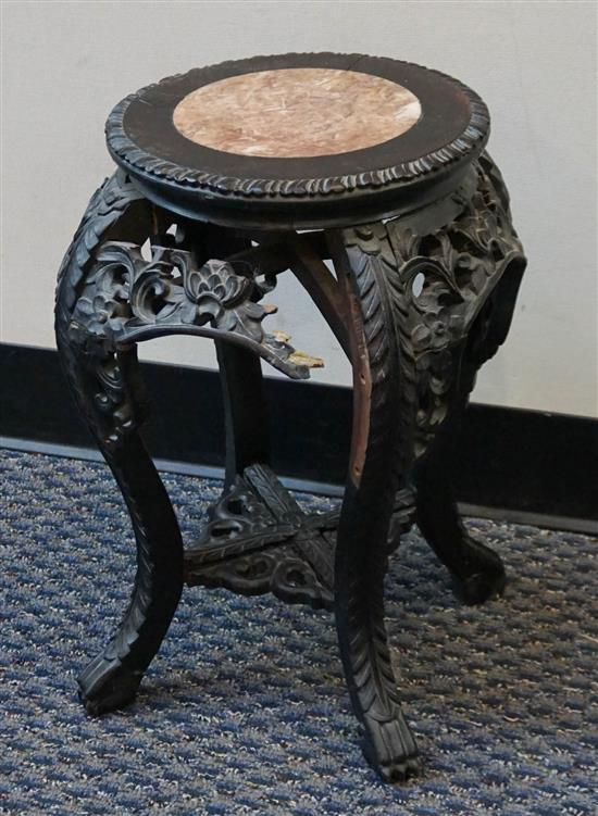Chinese Carved Teak Marble Inset Top Tabourette, (with losses), Height: 19 in