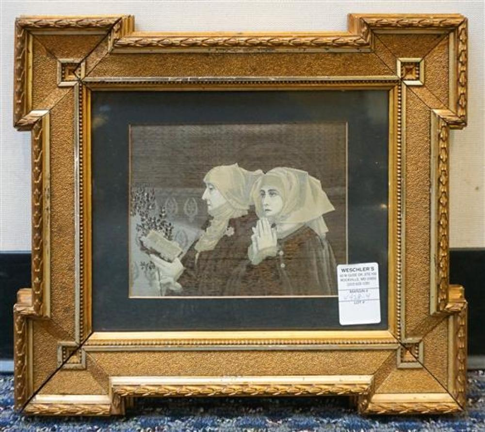 Woven Silk Stevengraph of 'Les Rameaux' After Eilsabeth Sorrel (French 1874-1953), Frame: 13 x 15 in