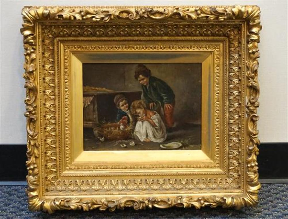 Dutch School, Children Playing with Chicks, Oil on Canvas, Signed Indistinctly, Frame: 19 x 22-1/4 in