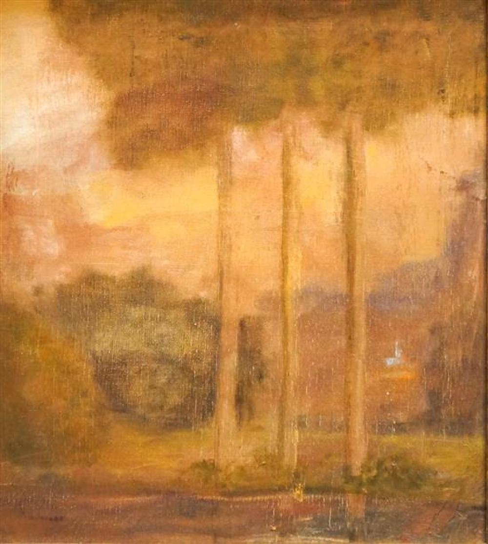 M B Jacobs (American 20th Century), Wooded Landscape, Oil on Canvas, Frame: 21 x 19 in