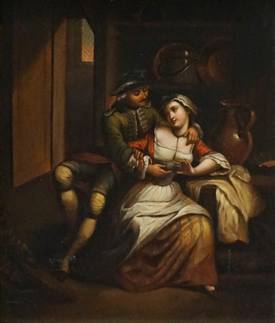 European 19th Century School, Courting Couple, Oil on Tin, Frame: 14-1/2x 13 in