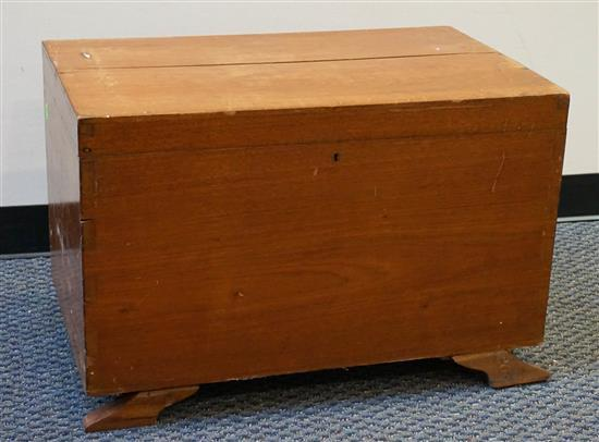 Mahogany Hinged Storage Chest, (front feet detached)