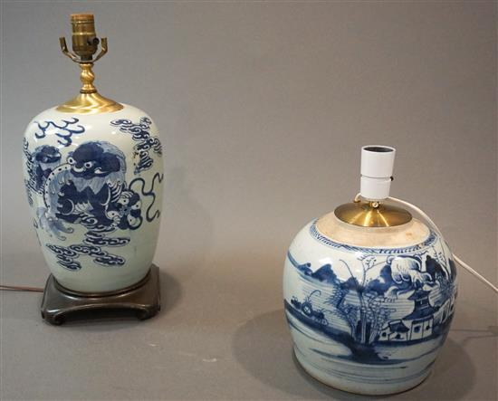 Two Chinese Blue and White Jars mounted as Lamps, Height of Taller: 17 in