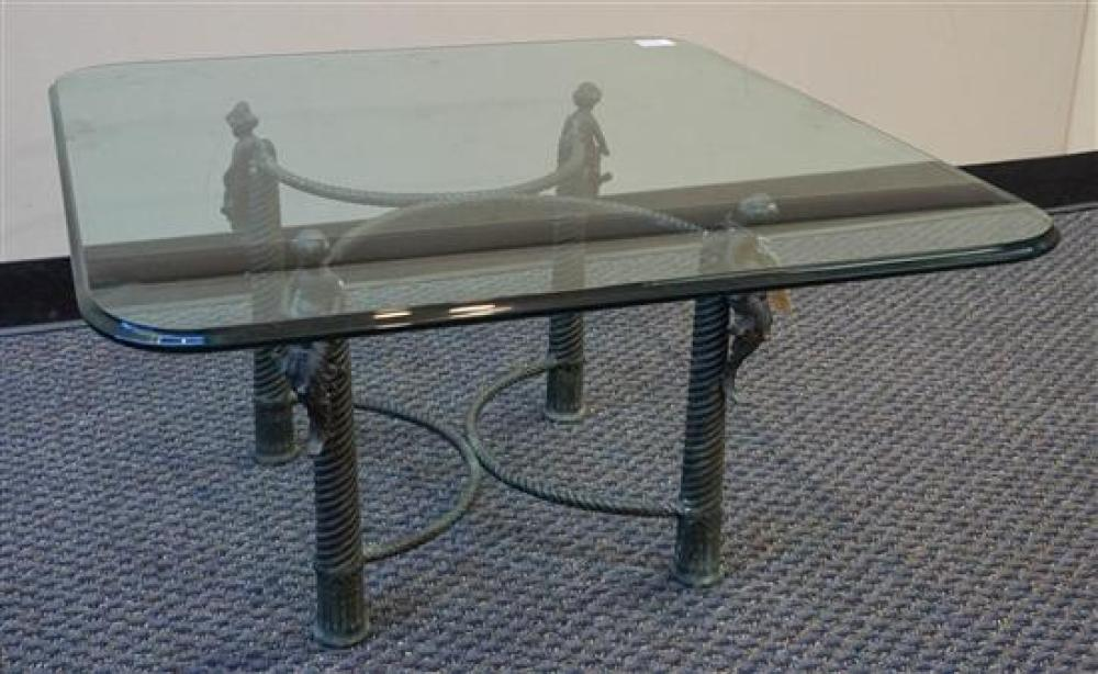 Verdigris Metal Figural Base and Glass Top Table, Height: 18-3/4 in, Square Top: 36 in