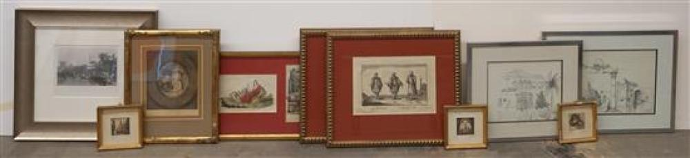 Group with Ten Framed Color Etchings and Prints, Largest: 11-3/4 x 25-1/4 inches