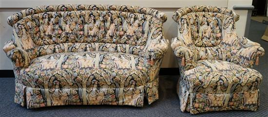 Victorian Style Machine Tapestry Upholstered Loveseat and Lounge Chair