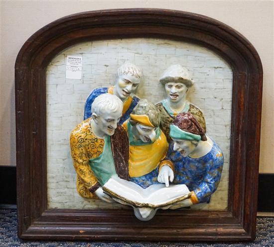 Italian Ceramic Figural Group, Frame: 20 x 21-1/2 in