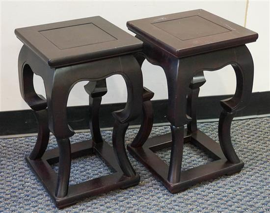 Pair Ming Style Stained Fruitwood Tabourettes, Height: 20 in