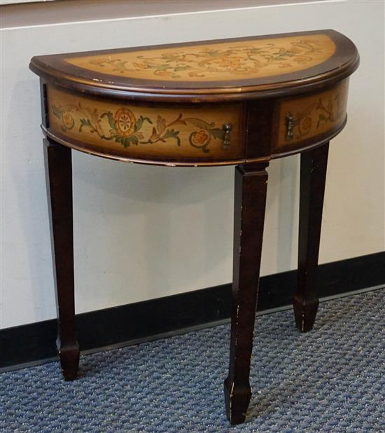 Continental Style Decorated Fruitwood Demilune Console Table, Height: 30-3/4 in, Width: 28 in