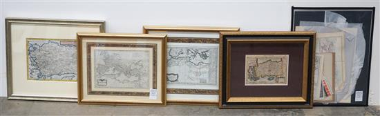 Group with Four Framed Engraved Maps of Roman Empire, Asia, Mediterranean, Etc.; together with Unframed Maps and Stamps