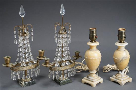 Pair Ormolu and Crystal Two-Light Sconces and Pair Alabaster Lamps, Height of Tallest: 15 in