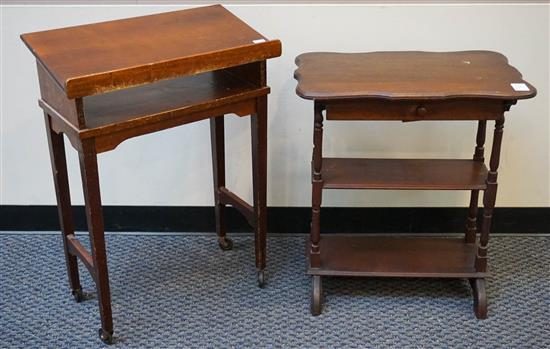 Rococo Style Walnut Side Table and Cherry Dictionary Stand