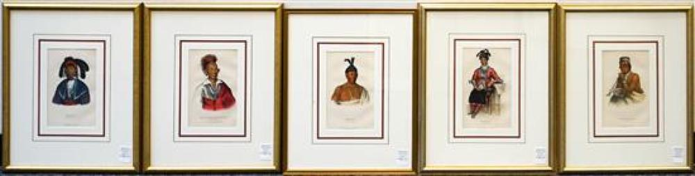 Hall & McKenney, History of the Indian Tribes of North America, Five Lithographs, 22 x 18 inches