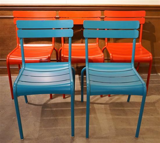 Set with Five Fermob 'Luxembourg' Painted Aluminum Stacking Side Chairs