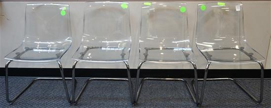 Set with Four Carl Ojerstam Tobias Lucite and Chrome Plated Chairs Retailed by Ikea
