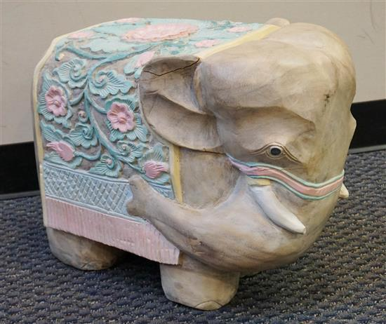 Painted Carved Wood Elephant, Height: 16 in, Depth: 20 in