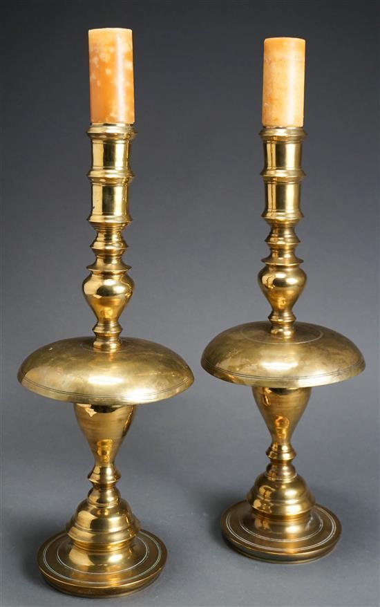 Pair Thai Brass Temple Candlesticks, Height: 20 in