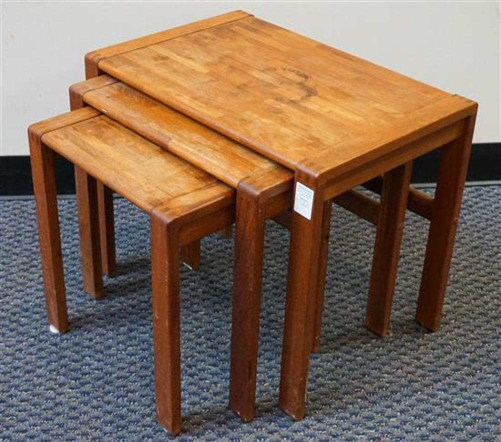 Nest of Three Captain Line Butcher Block Style Tables, H: 19-1/2 in, W: 23-1/2 in D: 16 in