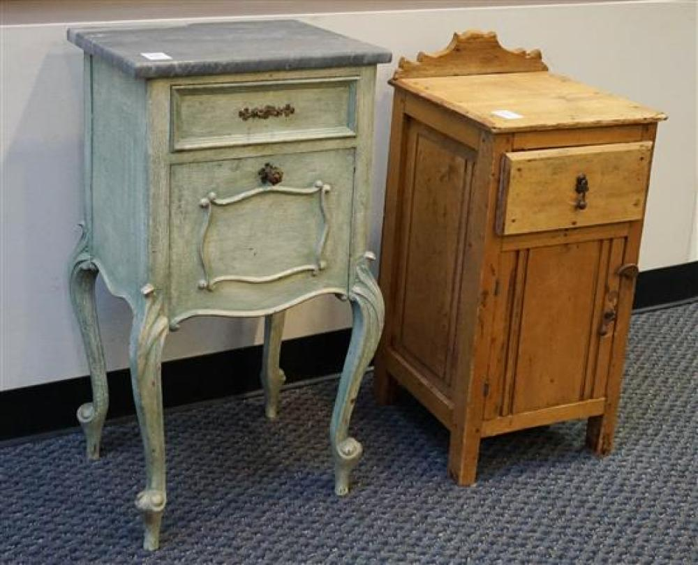 Continental Style Green Painted Marble Top Narrow Cabinet and Pine Side Cabinet