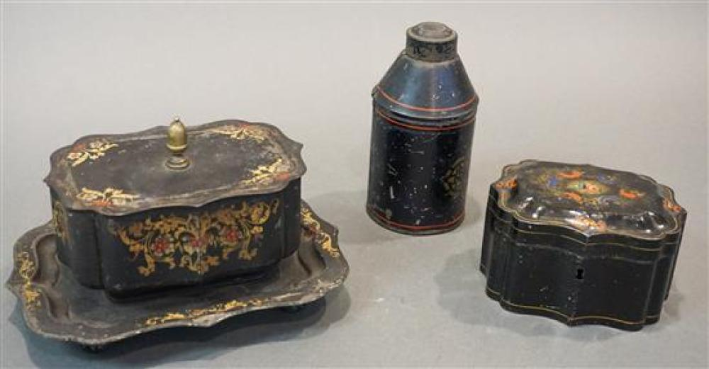 Two Tole Decorated Boxes and a Tea Caddy