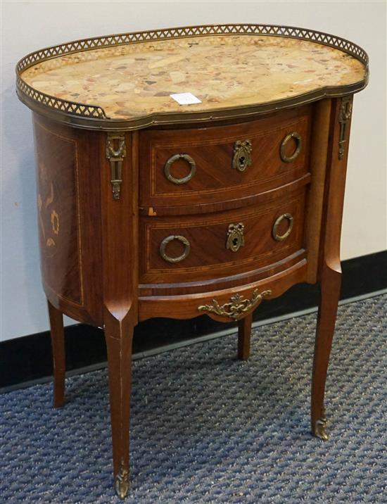 Louis XV Style Marquetry Kingswood and Breche d'Alp Marble Top Kidney-Shape Table, H: 27-1/2 in, W: 23-3/4 in, D: 15 in