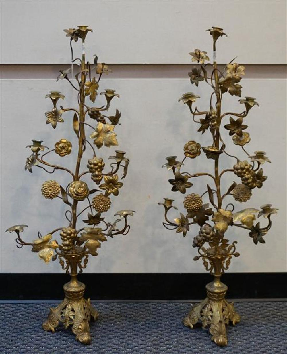 Pair Victorian Renaissance Style Gilt Metal Grape and Vine Table Candelabra, Height: 39 in