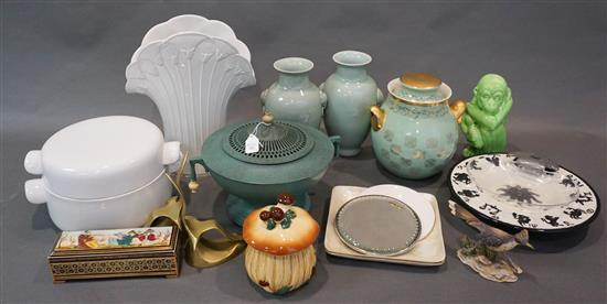 Collection with Asian and American Ceramics and Hall's Cookie Jar