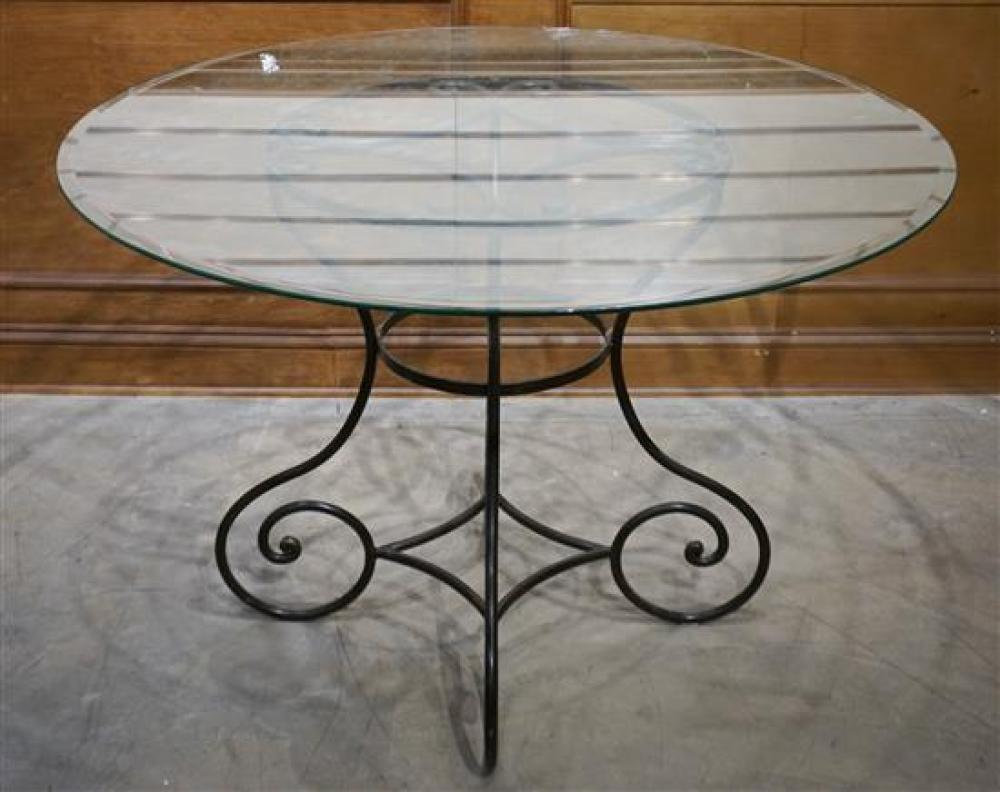 Black Painted Iron Base Round Glass Top Dining Table, H: 29-1/2 in, Diameter: 45 in