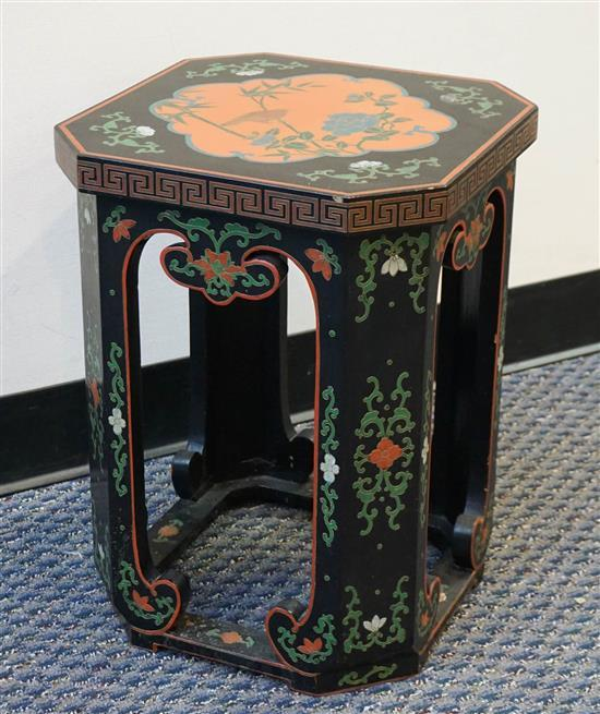 Chinese Polychrome Decorated Black Lacquer Pedestal, H: 19-1/4 in, Diameter: 14-1/4 in