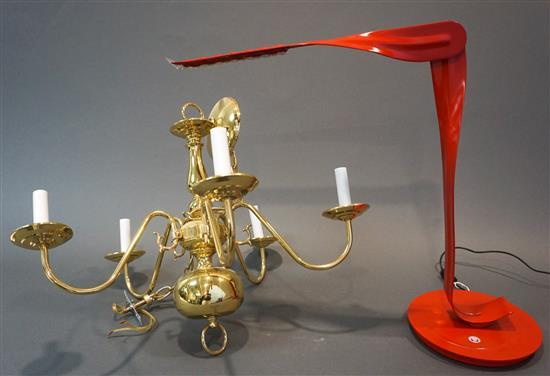 Herman Miller Red Enamel 'Leaf' Personal Lamp and a Dutch Rococo Style Brass Five-Light Chandelier