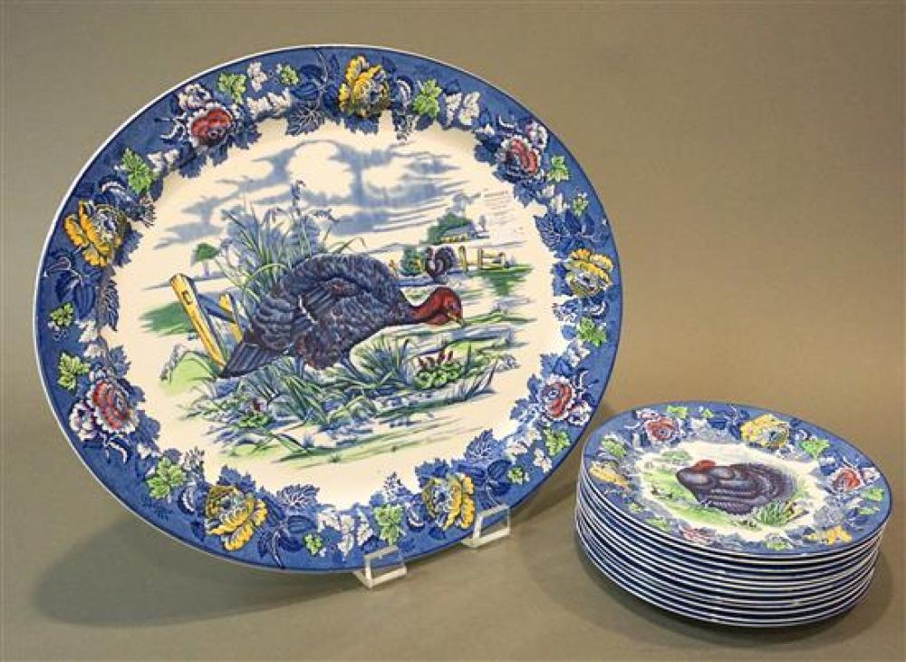 Wood's Burslem Transfer Decorated 'Turkey' Platter and Set with Twelve Matching Dinner Plates