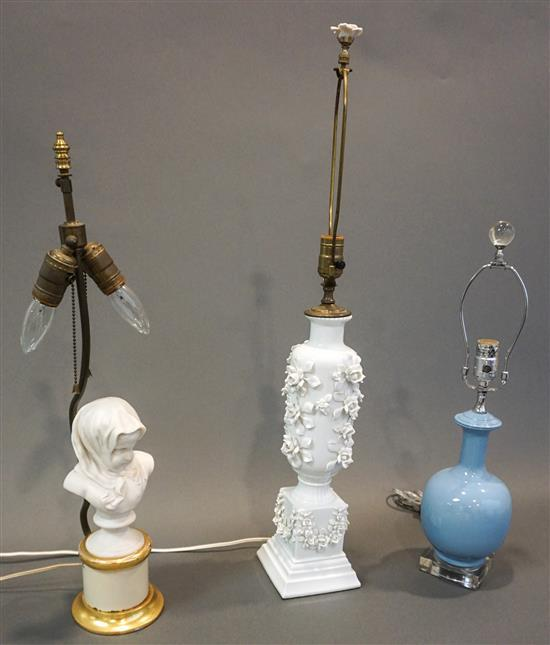Parianware Bust of Child and Two Assorted Table Lamps