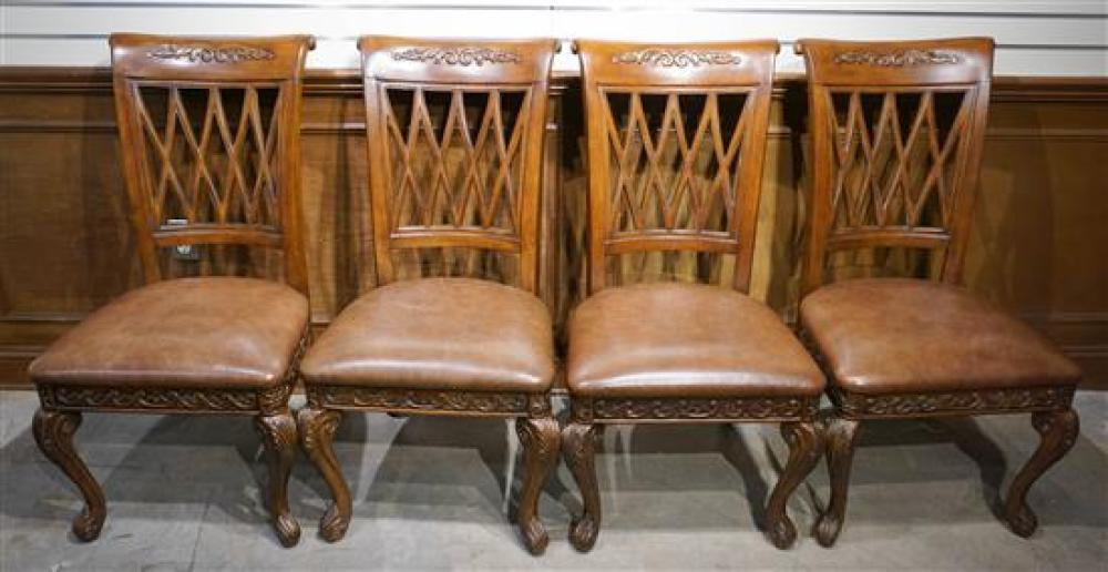 Set with Four Provincial Style Carved Wood Side Chairs by Hooker