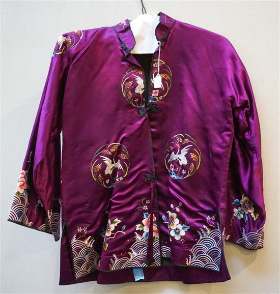Japanese Embroidered Purple Silk Jacket