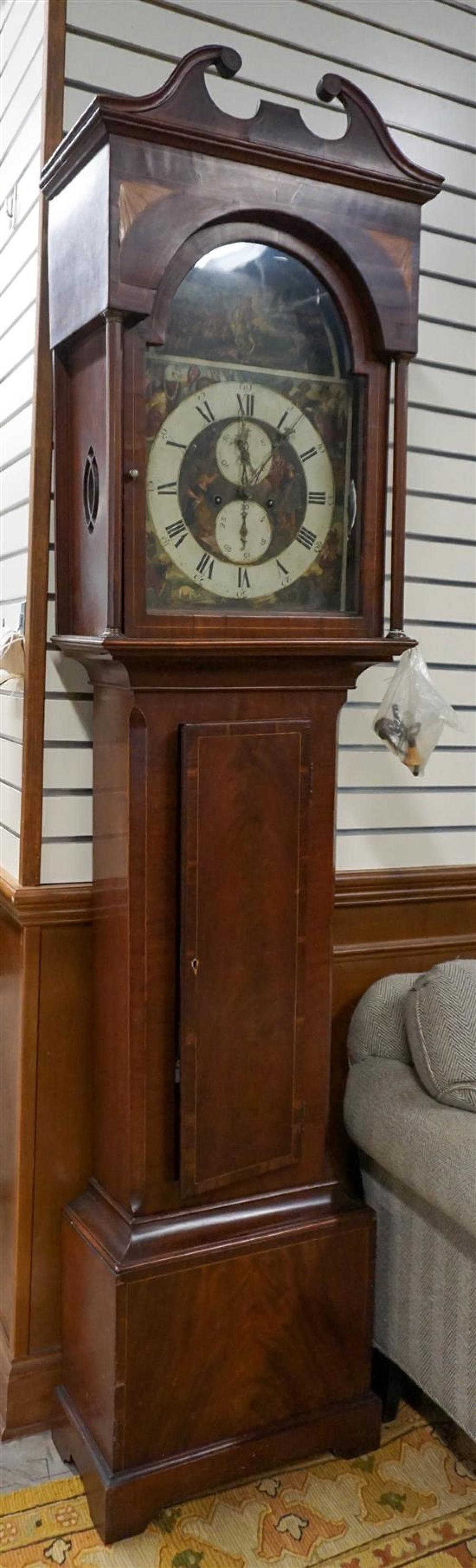 Federal Satinwood Inlaid Mahogany Grandfather's Clock, Height: 82 in