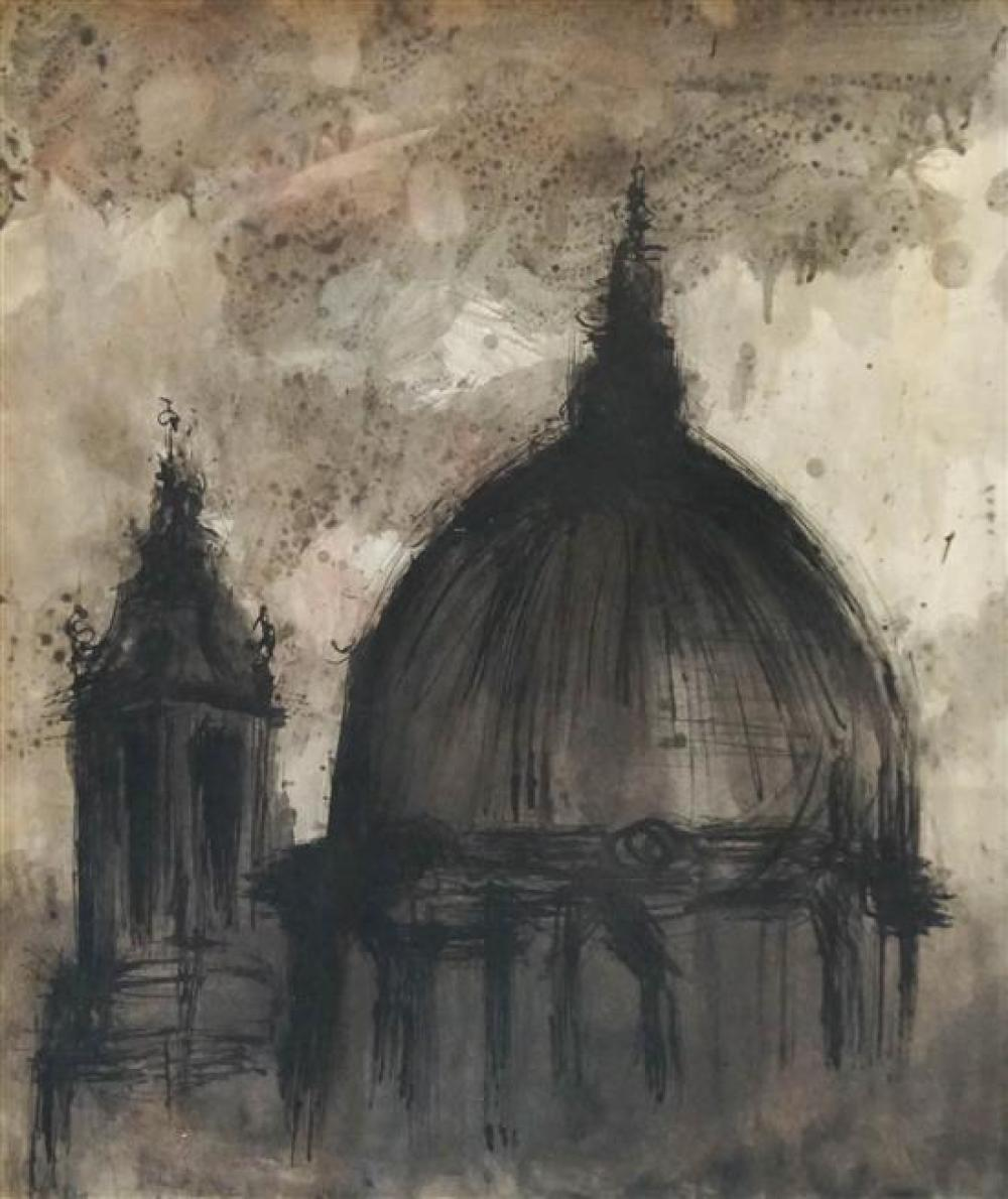 Unknown, Late 20th Century Artist, Cathedral Dome, Ink and Watercolor on Paper, Frame: 24 x 20-1/2 inches