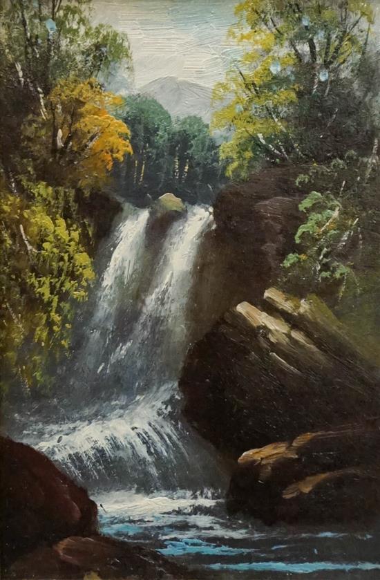 American 19th Century School, The Waterfall, Oil on Board, Frame: 16-3/4 x 13-3/4 in