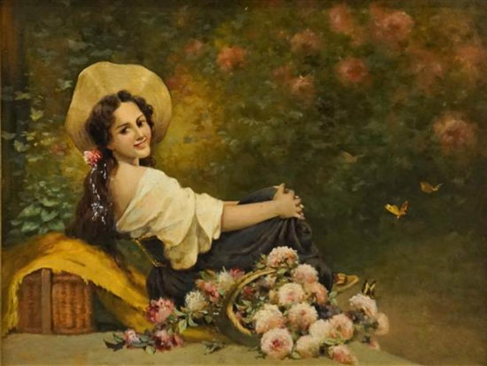 Geo Colzane (19th Century), Young Woman with Flowers, Oil on Panel, Frame: 18-3/4 x 22-3/4 in