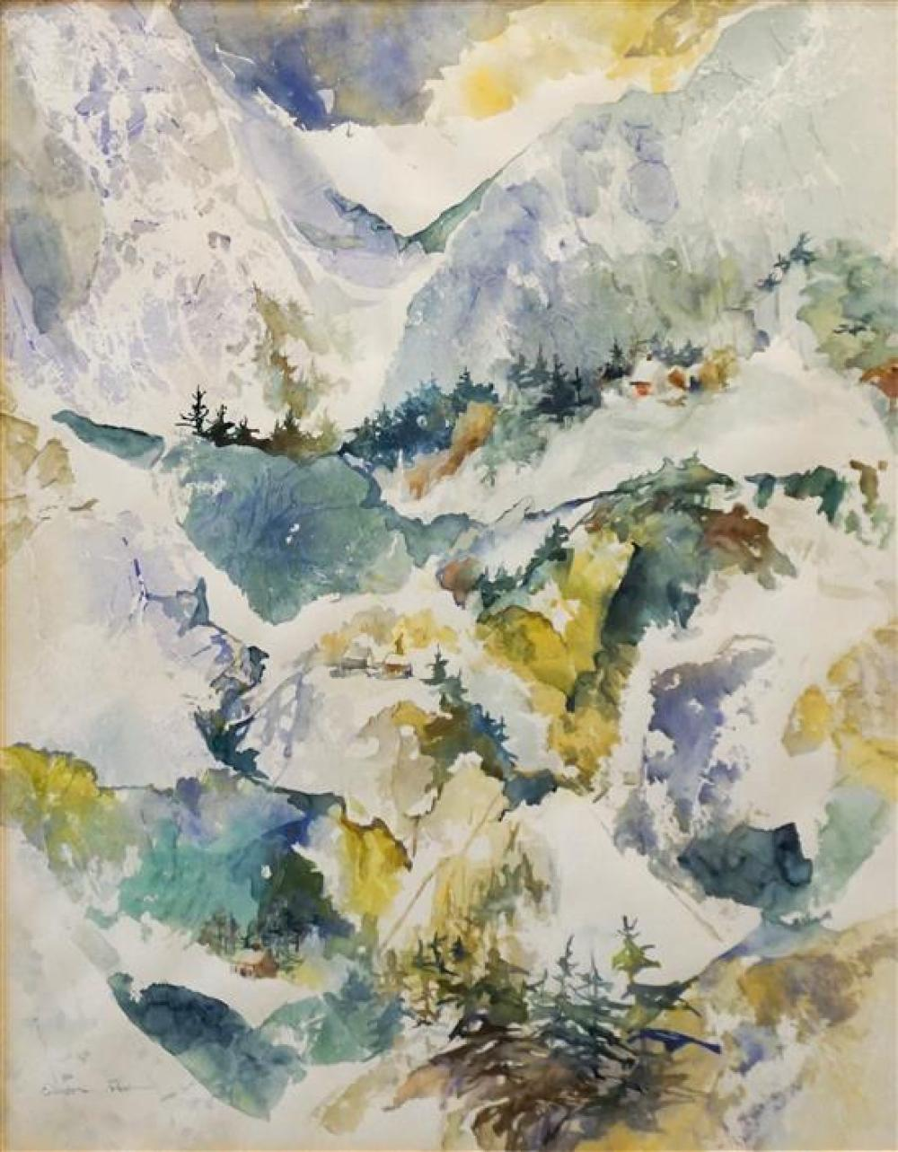Elizabeth Pratt, Western Mountains and Cabins, Watercolor, Frame: 38 x 31-1/4 in
