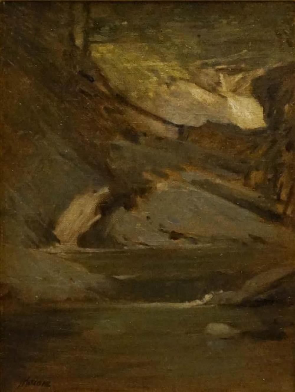 Robert Mainoe (American 1932-1987), Rocky Stream, Oil on Canvas, Painting: 12 x 9 in, Frame: 19-1/2 x 16-1/2 in