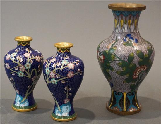 Three Chinese Cloisonne Enamel Vases