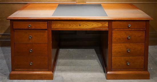 Cherry Double Pedestal Computer Desk, Height: 31 in, Width: 67 in, Depth: 31-1/2 in