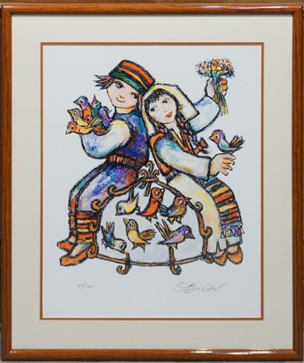 O. Bican, Two Children, Print, Frame: 32 x 26 in