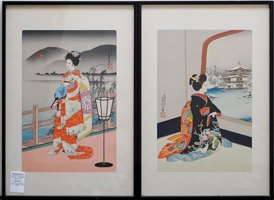 Two Japanese Woodblock Prints, Frame: 19-1/4 x 13-1/4 in