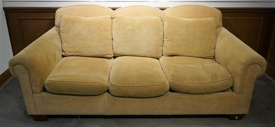 Heirloom Hickory NC Tan Upholstered Sofa, W: 87 in