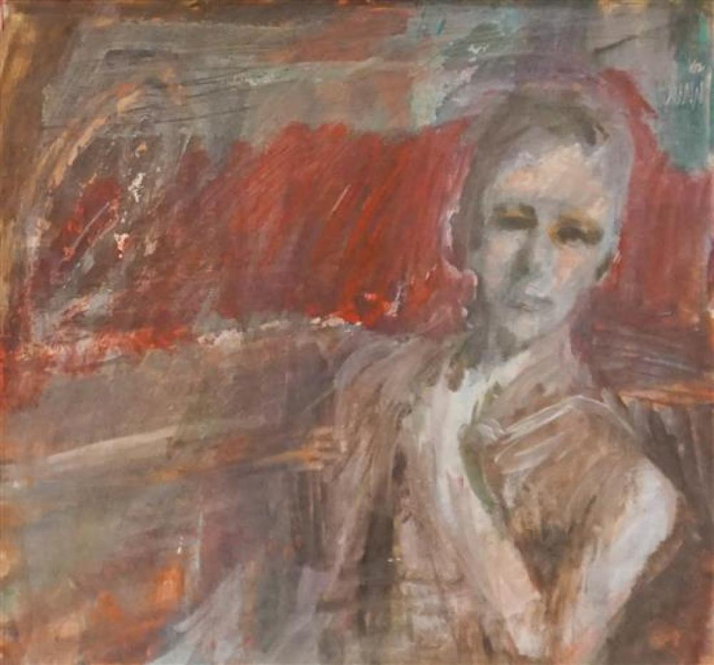 Dunn, Seated Woman, Gouache on Paper, Frame 17-3/4 x 18-1/2 inches